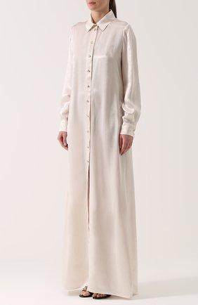 Платье-рубашка в пол с длинным рукавом | Фото №3