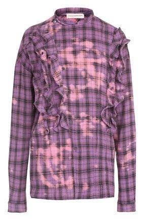 Женская хлопковая блуза в клетку с оборками Faith Connexion, цвет фиолетовый, арт. X1800T00036 в ЦУМ | Фото №1