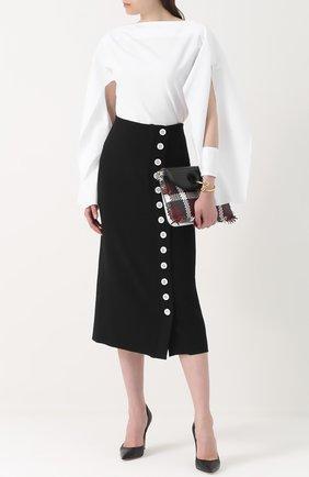 Женская блуза с вырезом-лодочка с разрезами на рукавах Christopher Esber, цвет белый, арт. SH01 в ЦУМ | Фото №1