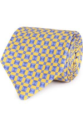 Мужской шелковый галстук с узором KITON желтого цвета, арт. KA/C02E15 | Фото 1