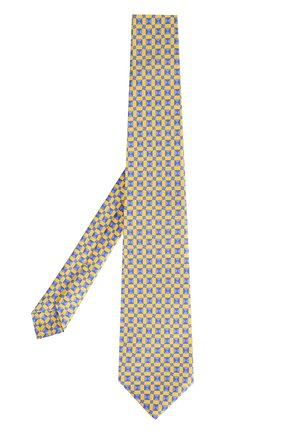 Мужской шелковый галстук с узором KITON желтого цвета, арт. KA/C02E15 | Фото 2