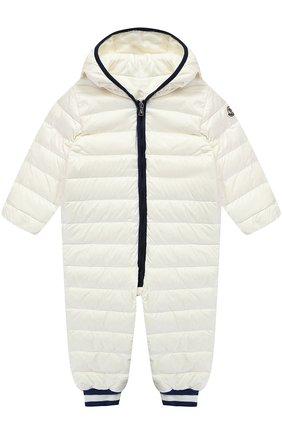 Детский стеганый пуховый комбинезон с капюшоном MONCLER ENFANT белого цвета, арт. C1-951-14349-99-53048 | Фото 1