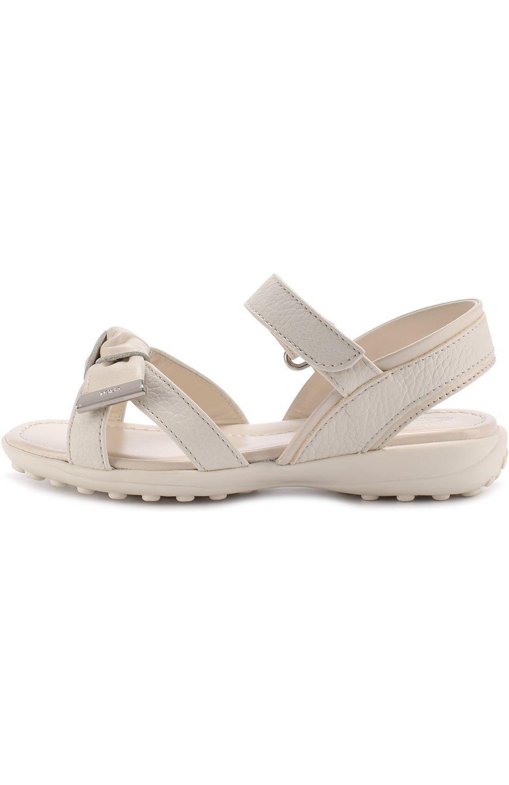 Кожаные сандалии с застежками велькро и бантом | Фото №2