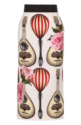Юбка-миди с контрастным поясом и принтом Dolce & Gabbana красная | Фото №1
