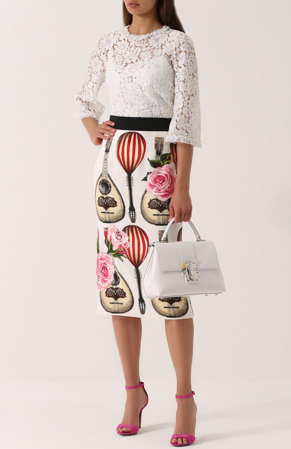 Юбка-миди с контрастным поясом и принтом Dolce & Gabbana красная | Фото №2