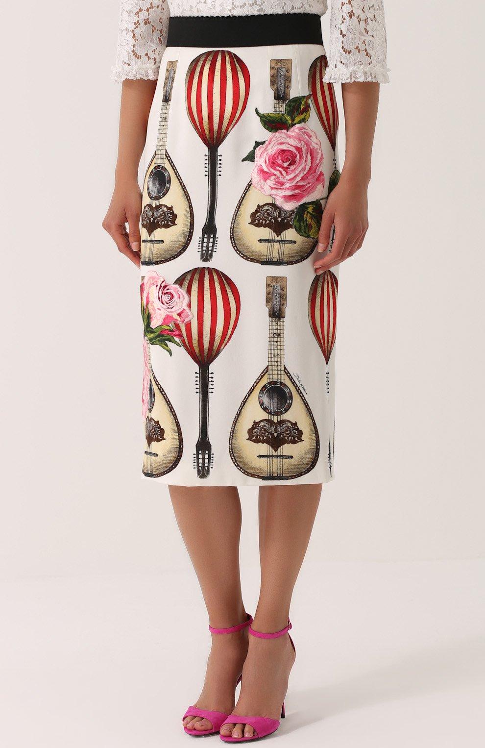 Юбка-миди с контрастным поясом и принтом Dolce & Gabbana красная | Фото №3