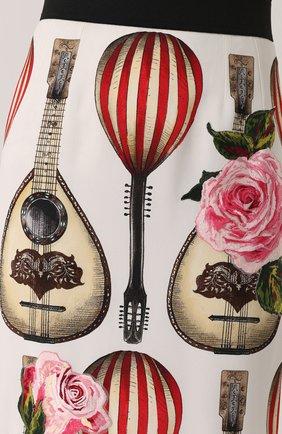 Юбка-миди с контрастным поясом и принтом Dolce & Gabbana красная | Фото №5