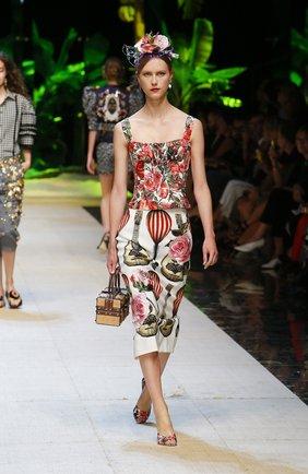 Юбка-миди с контрастным поясом и принтом Dolce & Gabbana красная | Фото №6