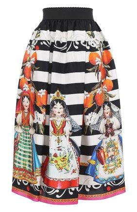 Шелковая юбка-миди с принтом Dolce & Gabbana черно-белая | Фото №1