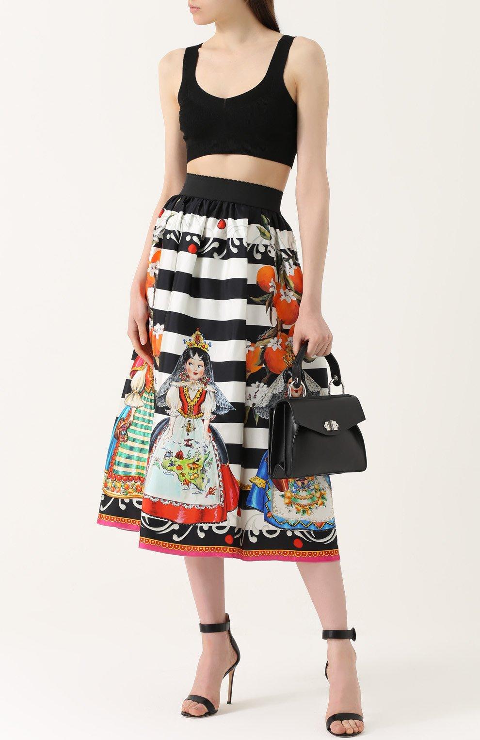 Шелковая юбка-миди с принтом Dolce & Gabbana черно-белая | Фото №2