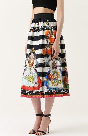 Шелковая юбка-миди с принтом Dolce & Gabbana черно-белая | Фото №3