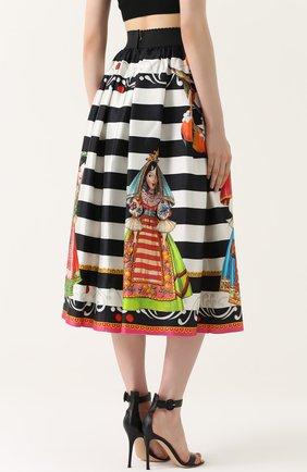 Шелковая юбка-миди с принтом Dolce & Gabbana черно-белая | Фото №4