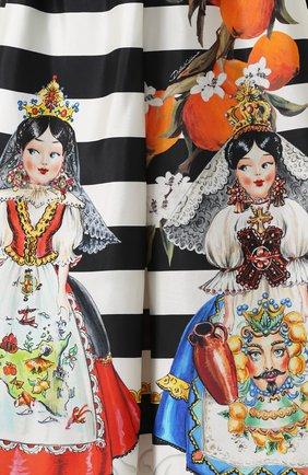 Шелковая юбка-миди с принтом Dolce & Gabbana черно-белая | Фото №5