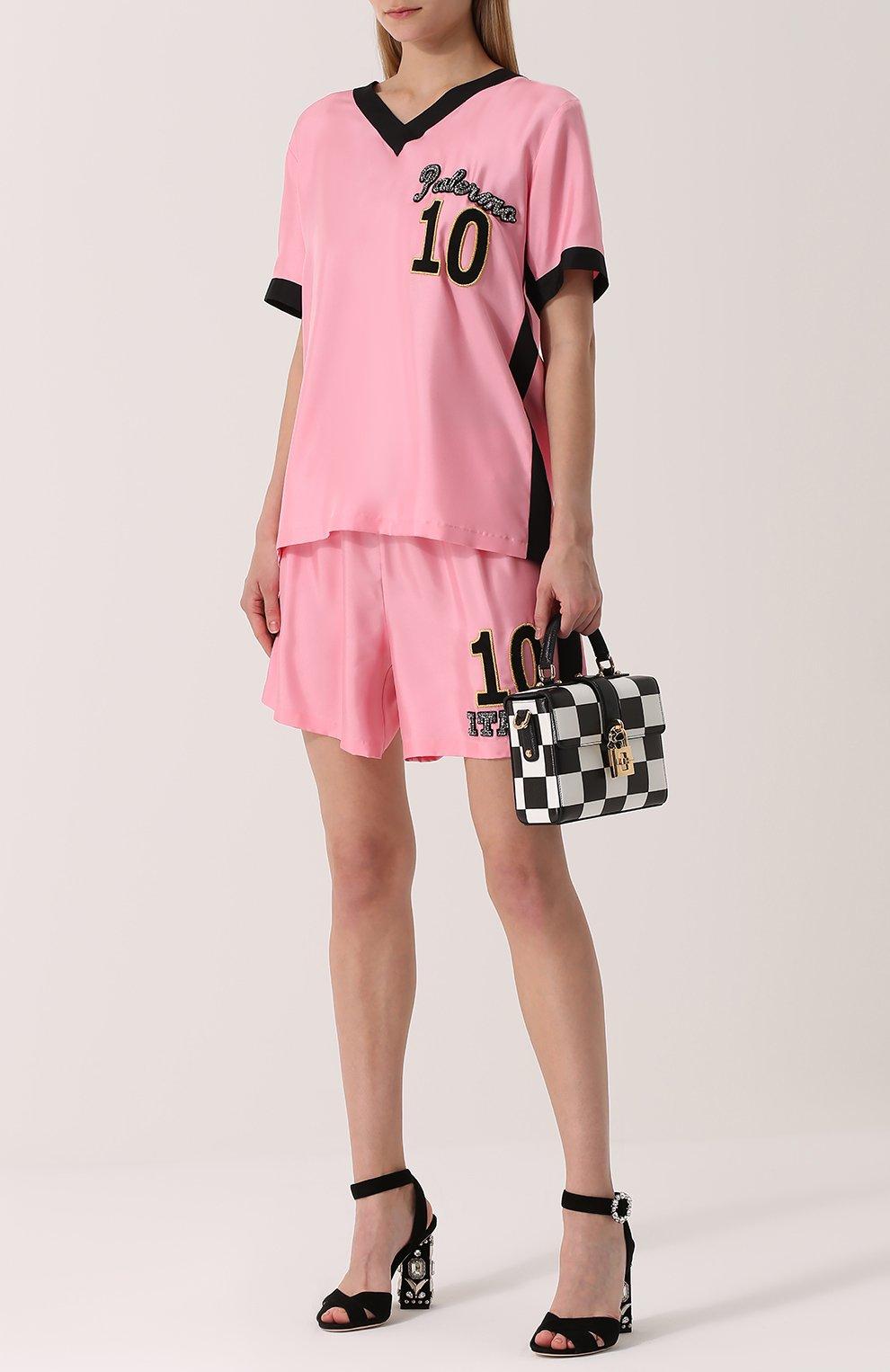 Шелковые мини-шорты с эластичным поясом Dolce & Gabbana розовые   Фото №2