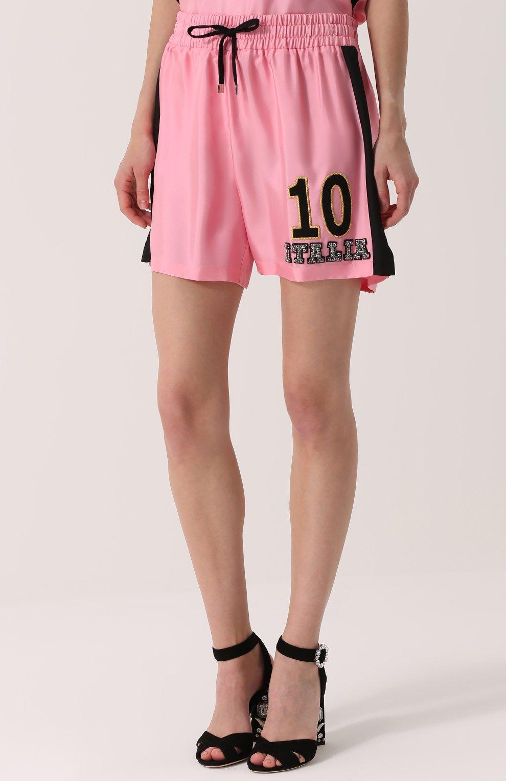 Шелковые мини-шорты с эластичным поясом Dolce & Gabbana розовые   Фото №3