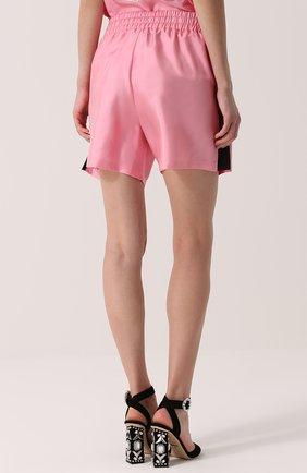 Шелковые мини-шорты с эластичным поясом Dolce & Gabbana розовые   Фото №4