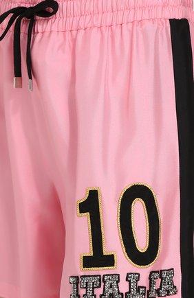 Шелковые мини-шорты с эластичным поясом Dolce & Gabbana розовые   Фото №5