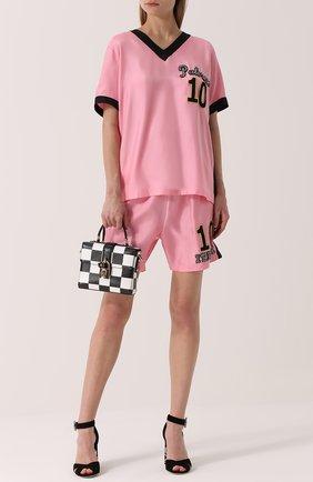 Шелковый топ с V-образным вырезом и контрастной отделкой Dolce & Gabbana розовый   Фото №2