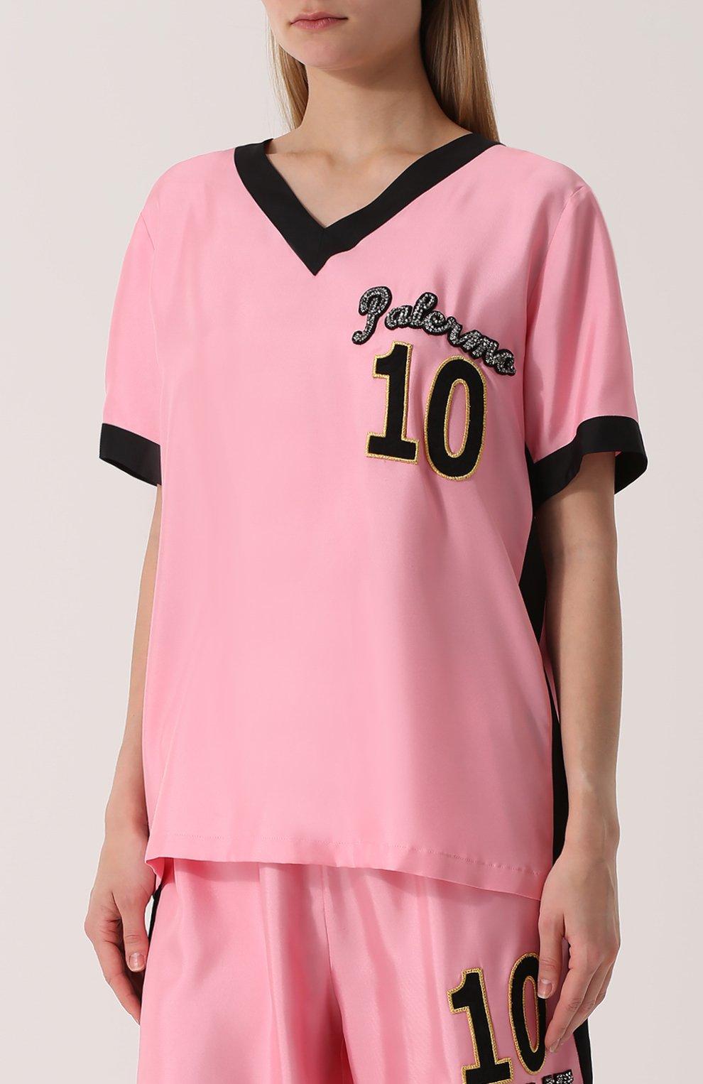 Шелковый топ с V-образным вырезом и контрастной отделкой Dolce & Gabbana розовый   Фото №3