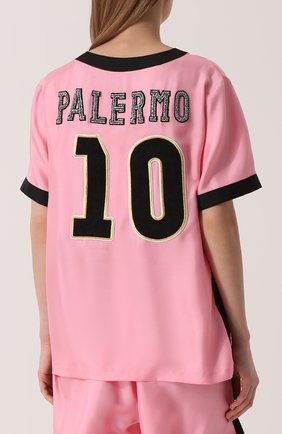 Шелковый топ с V-образным вырезом и контрастной отделкой Dolce & Gabbana розовый   Фото №4