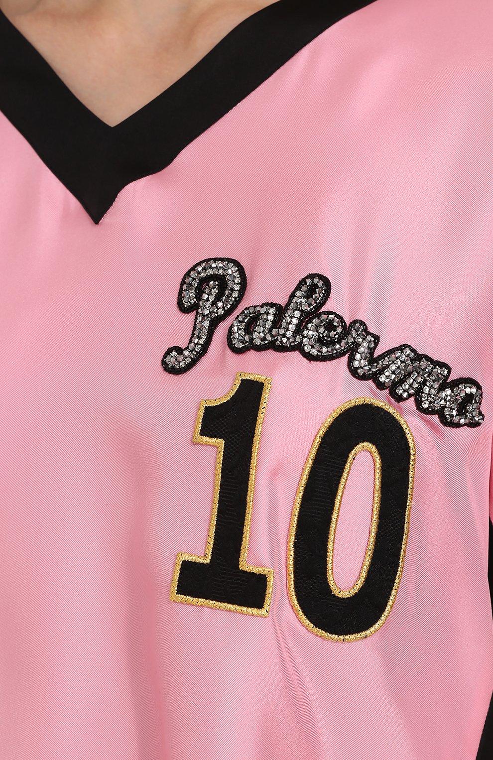 Шелковый топ с V-образным вырезом и контрастной отделкой Dolce & Gabbana розовый   Фото №5