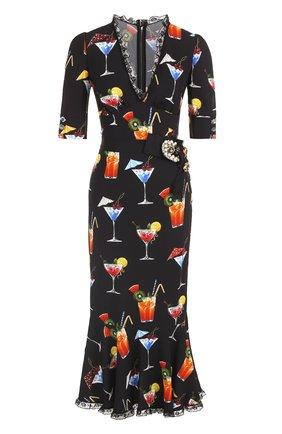 Платье с кружевной отделкой и укороченным рукавом Dolce & Gabbana черное | Фото №1