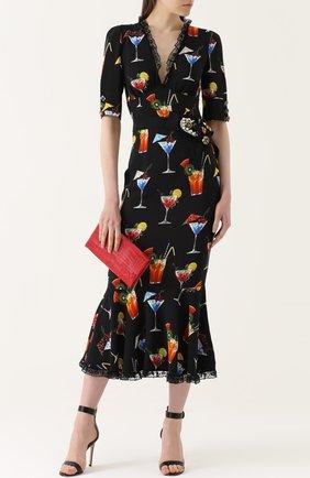 Платье с кружевной отделкой и укороченным рукавом Dolce & Gabbana черное | Фото №2