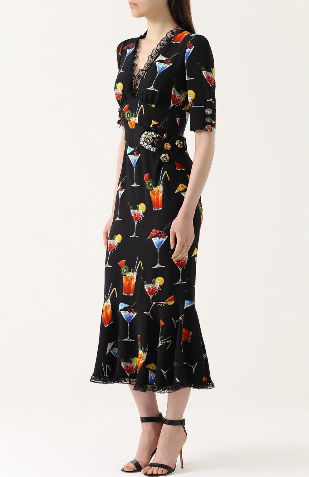 Платье с кружевной отделкой и укороченным рукавом Dolce & Gabbana черное | Фото №3