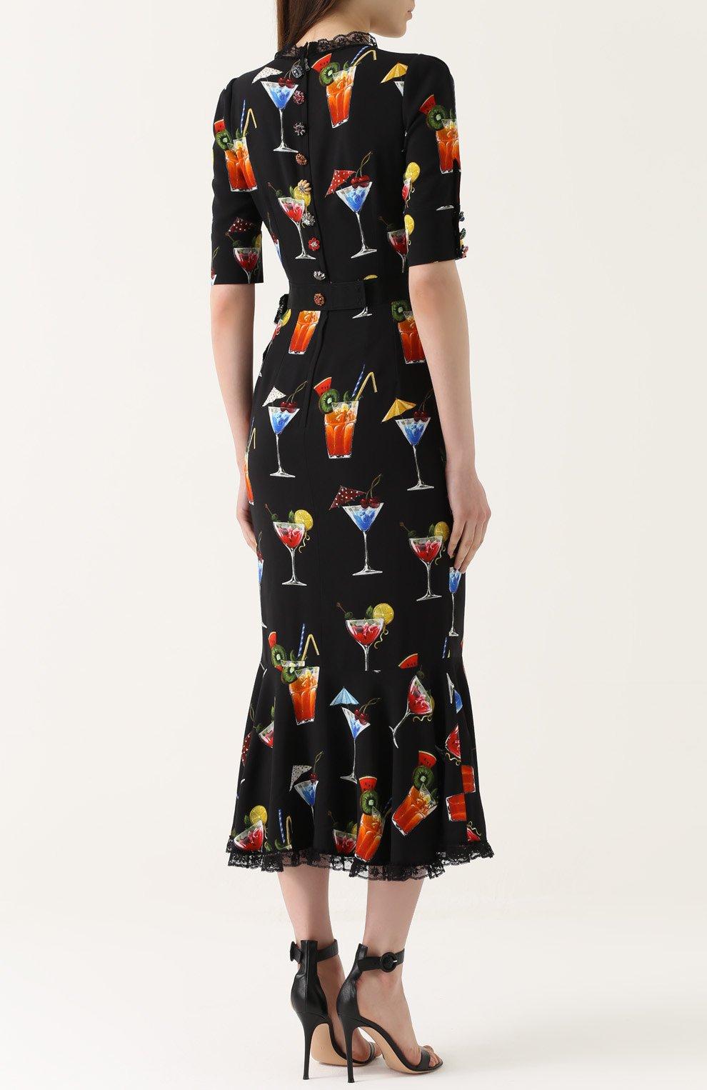 Платье с кружевной отделкой и укороченным рукавом Dolce & Gabbana черное | Фото №4
