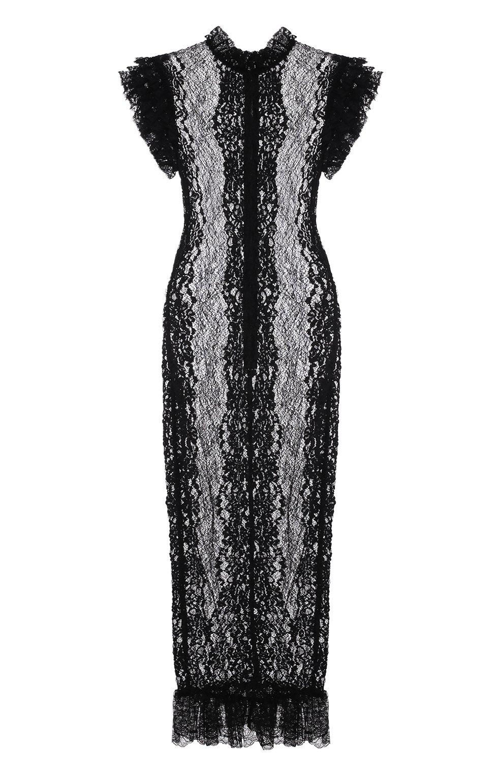 Полупрозрачное кружевное платье с оборками | Фото №1
