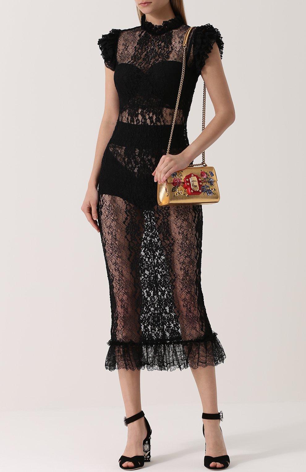 Полупрозрачное кружевное платье с оборками Dolce & Gabbana черное | Фото №2