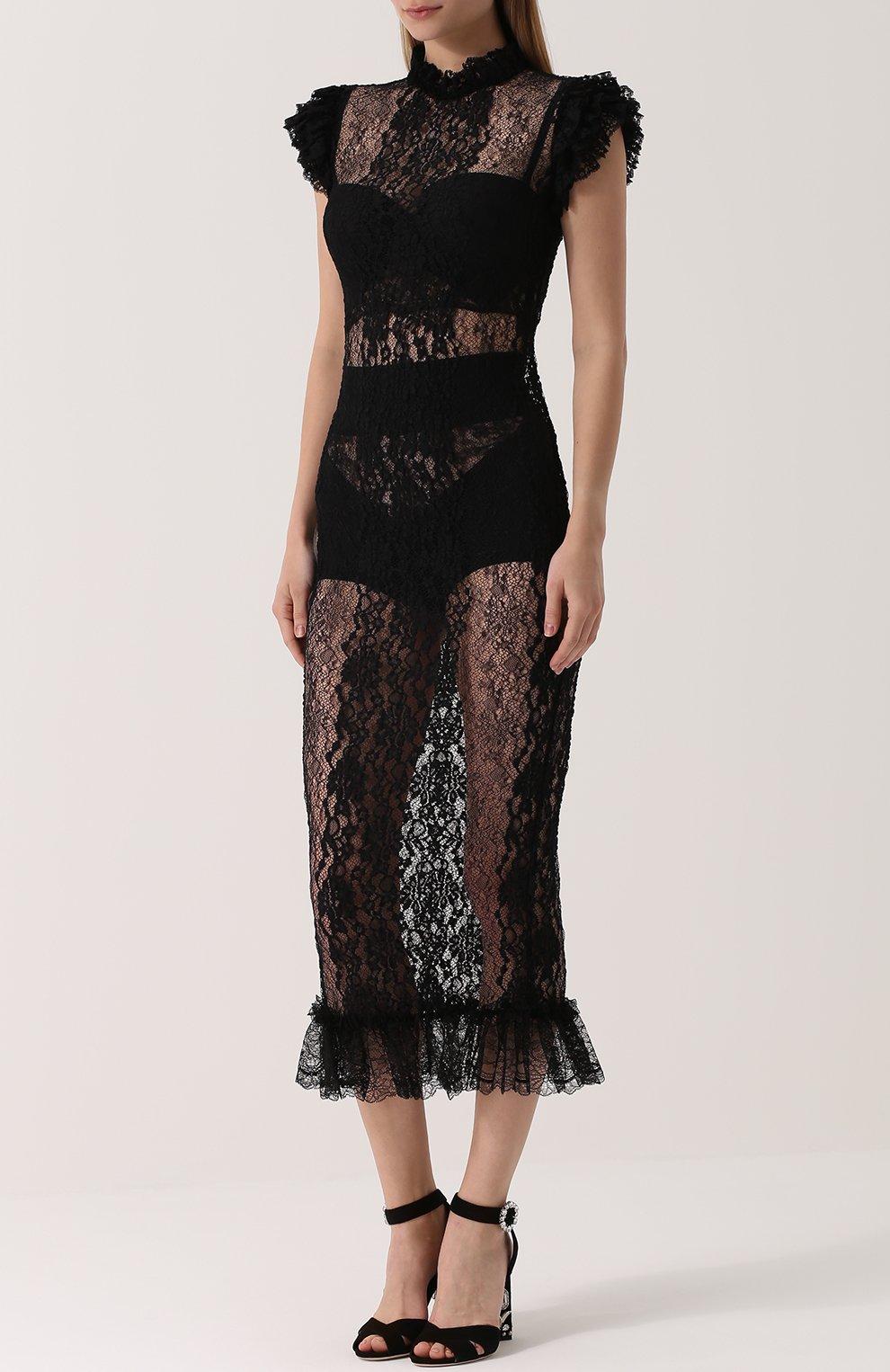 Полупрозрачное кружевное платье с оборками Dolce & Gabbana черное | Фото №3