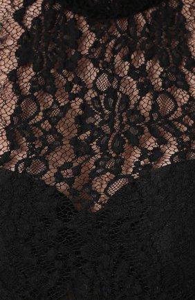 Полупрозрачное кружевное платье с оборками Dolce & Gabbana черное | Фото №5