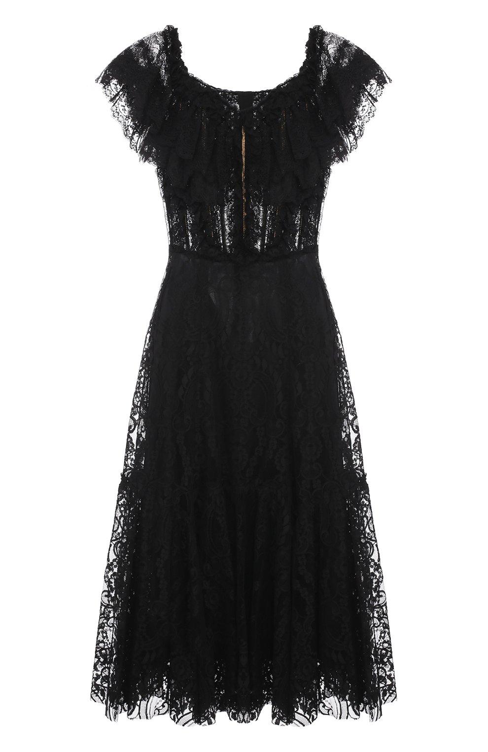 Шелковое кружевное платье с открытыми плечами   Фото №1