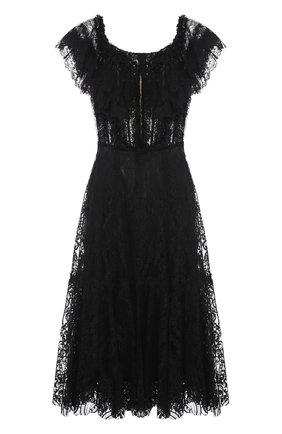 Шелковое кружевное платье с открытыми плечами Dolce & Gabbana черное   Фото №1
