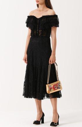Шелковое кружевное платье с открытыми плечами Dolce & Gabbana черное   Фото №2