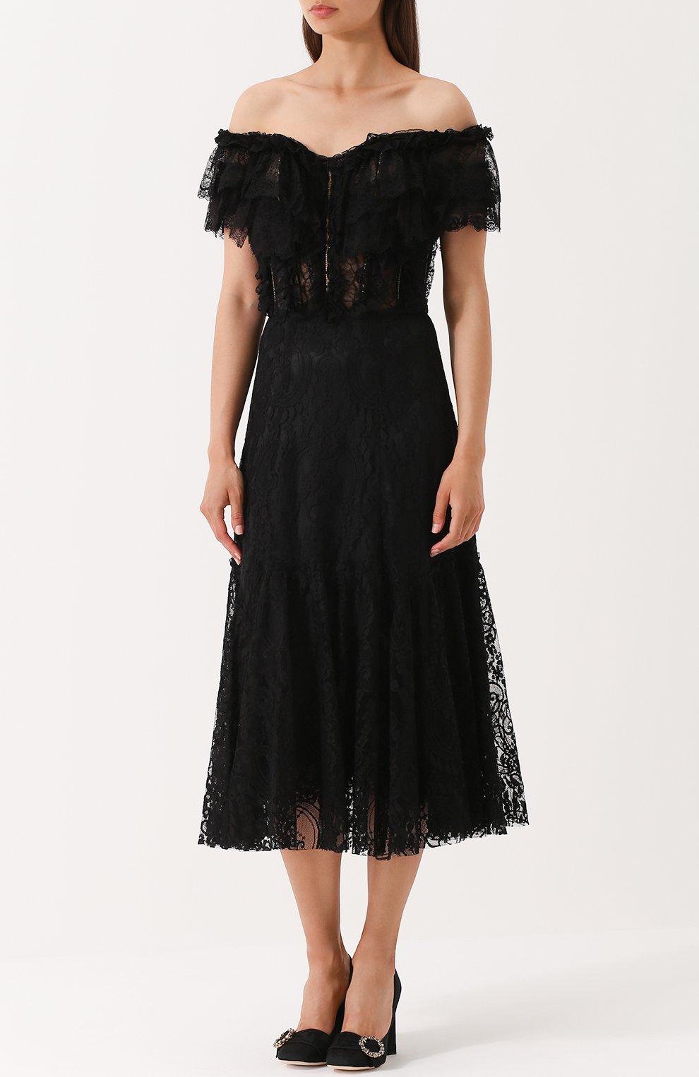 Шелковое кружевное платье с открытыми плечами Dolce & Gabbana черное   Фото №3