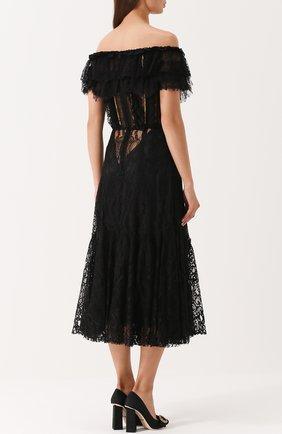 Шелковое кружевное платье с открытыми плечами Dolce & Gabbana черное   Фото №4