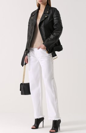 Кожаная куртка свободного кроя с косой молнией | Фото №2