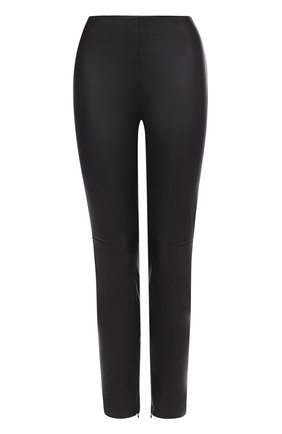 Укороченные кожаные брюки-скинни | Фото №1