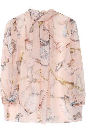 Шелковая полупрозрачная блуза с воротником аскот