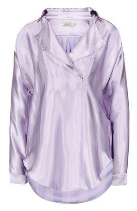 Блуза свободного кроя с отложным воротником | Фото №1