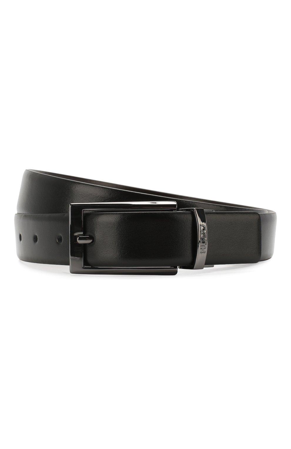Мужской кожаный ремень HUGO черного цвета, арт. 50307803 | Фото 1