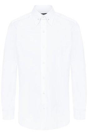 Мужская хлопковая сорочка с воротником на булавке TOM FORD белого цвета, арт. 9FT00094S4JA | Фото 1