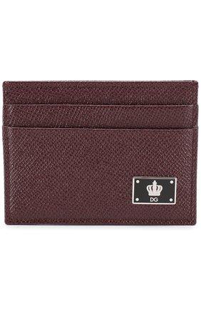 Кожаный футляр для кредитных карт Dolce & Gabbana бордового цвета | Фото №1