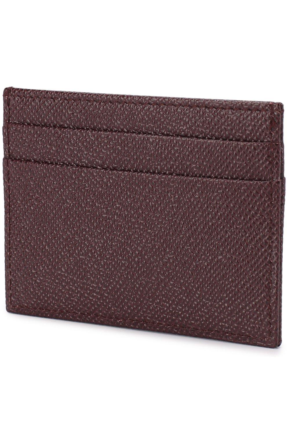 Кожаный футляр для кредитных карт Dolce & Gabbana бордового цвета | Фото №2