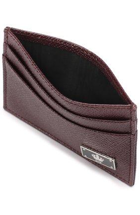 Кожаный футляр для кредитных карт Dolce & Gabbana бордового цвета | Фото №3