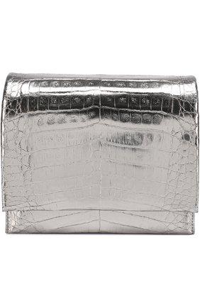 Сумка из металлизированной кожи каймана Nancy Gonzalez серебряного цвета | Фото №1