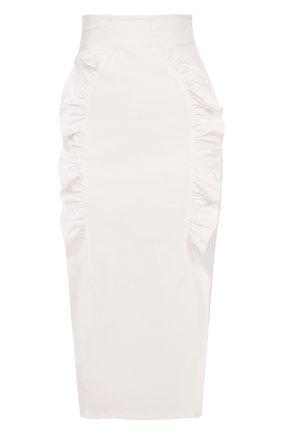 Юбка-карандаш с высоким разрезом и оборками Alice McCall белая | Фото №1