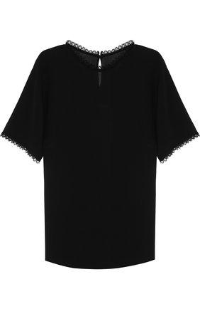 Шелковый топ прямого кроя с кружевной отделкой Dolce & Gabbana черный | Фото №1